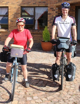 Sonja and Onno ready for their next leg of their pedal power road trip