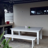 Outdoor entertainment area with built in braai